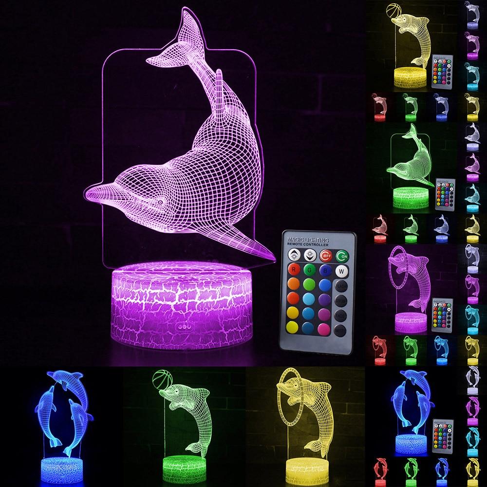 LED Night Light Color Change Dolphin Shape LED Table Desk Lamp  LED Night Light For Bedroom Decoration Gift D30