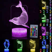 LED Night Light Color Change Dolphin Shape LED Table Desk Lamp  LED Night Light For Bedroom Decoration Gift D30 cute creative dolphin led night light bedroom home decoration warm desk led nightlight usb wood pine solid hollow table led lamp page 3