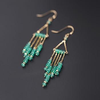 Daimi Emerald Earrings Female Gemstones Natural 18k Gold Niche Designer Custom
