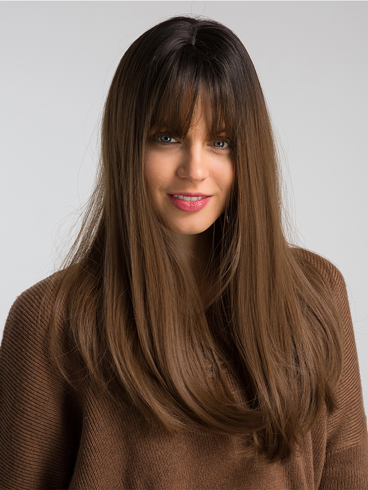 Element Synthetic-Wig Hair Wigs Bangs Natural-Headline Heat-Resistant Dark-Root Ombre-Color