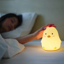 ins hot creative silicone alarm clock wake up chicken night light silicone bedside lamp kids room night light free shipping Creative Smart Products Early Chicken Wake Up Light Snooze Alarm Clock Dimmable Bedside Night Light c