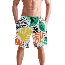Swimsuit Beach Quick Drying Trunks For Men Summer Breeches Shorts Casual Boardshorts Homme Tropical palm leaf print Beach Shorts