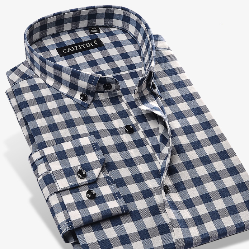 Men's Fashion Long Sleeve Premium Gingham Shirt Simple Design Casual Button-down Plaid Checkered Cotton Shirts