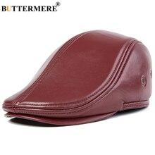 BUTTERMERE casquette plate pour hommes, en cuir de mouton véritable, Gatsby, bleu Royal, vainqueur dautomne, oreillettes pour hommes