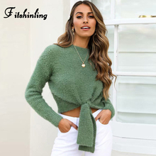 Fitshinling Mohair Cropped Sweaters For Women Bow Tie Fuzzy Hairy Slim Pullover Knitted Jumper Solid Basic Sweater Pull Femme