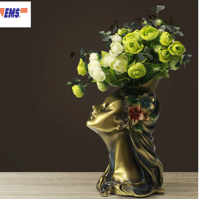 Style européen beauté tête Portraits résine Vase créatif salon meuble TV ornements chambre fleurs séchées pot de fleurs X2477