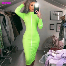 2019 autumn and winter new European and American women's stitching high collar long-sleeved slim bag hip dress 2019 autumn new european and american women s personality stitching ruffled long sleeved round neck slim bag hip dress