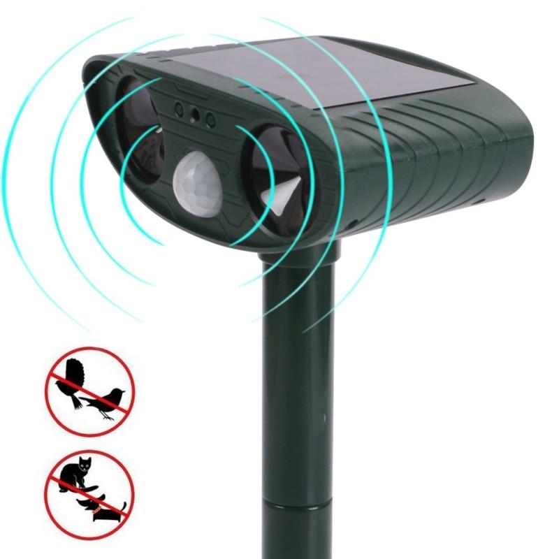 Solar Animal Driver Outdoor Do/cat Driver Garden Orchard Bird Repeller Infrared Sensor Ultrasonic Drive Device ZA