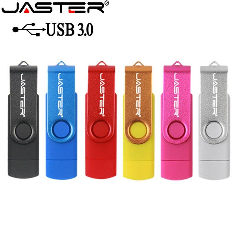 JASTER New  USB 3.0 USB Flash Drive Pen Drive 256GB 128GB 64GB 32GB 16GB 8GB OTG 2 In 1 High Speed Pendrive For Android/PC