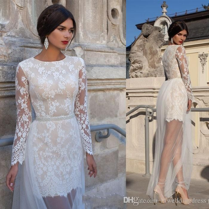 2016 Jewel Applique Wedding Dresses With Detachable Tulle Skirt Long Illusion Sleeves Zipper Back Beading Waistband Bridal Gowns