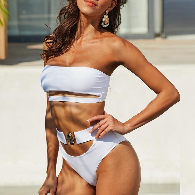 Mossha, белый женский купальник, бандо, бикини, 2020, Mujer, металлическая пряжка, пояс, женский купальник бикини, женский купальник 15