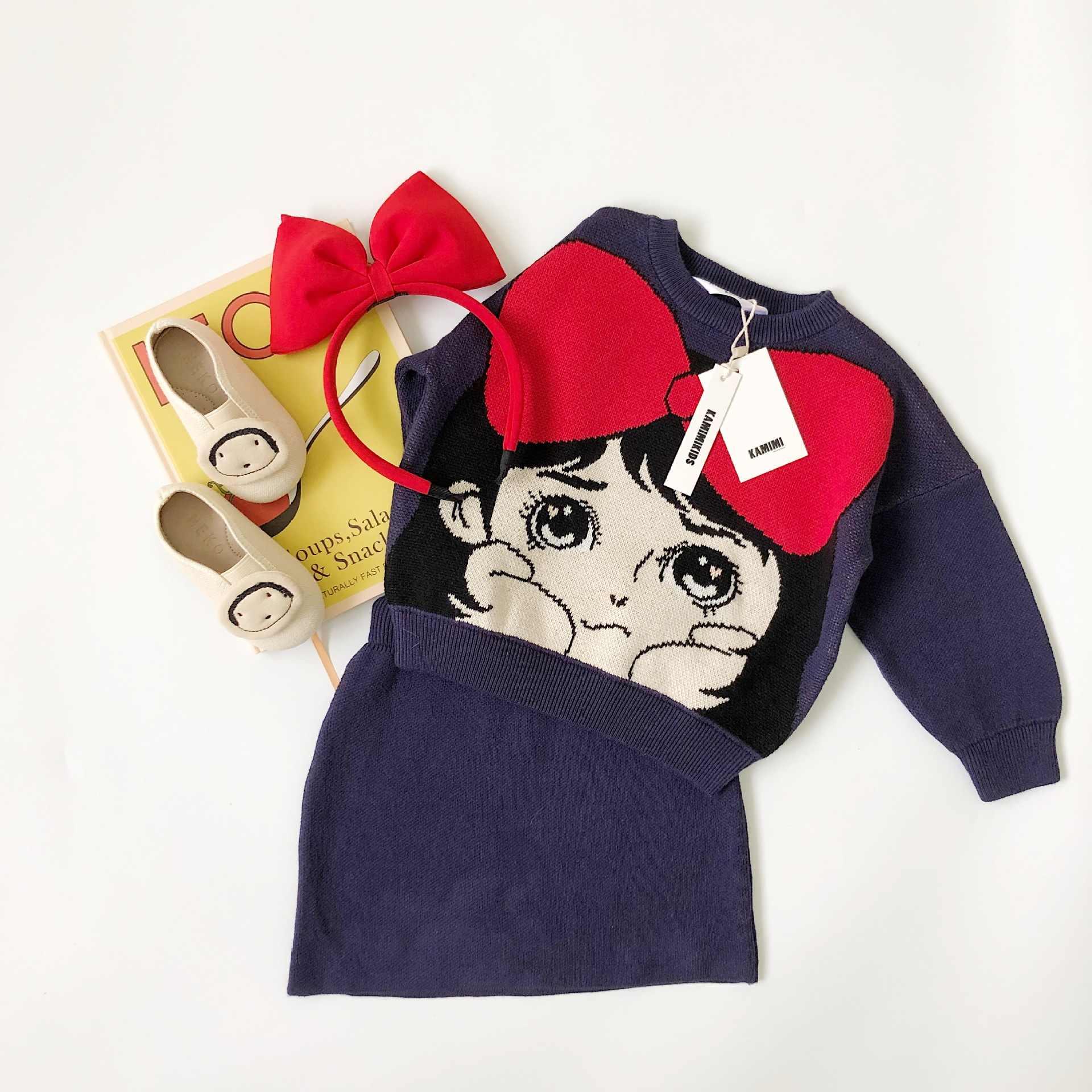 Tonytaobaby automne et hiver vêtements nouveaux enfants dessin animé mignon enfants pull tricoté filles deux costumes Boutique enfants vêtements