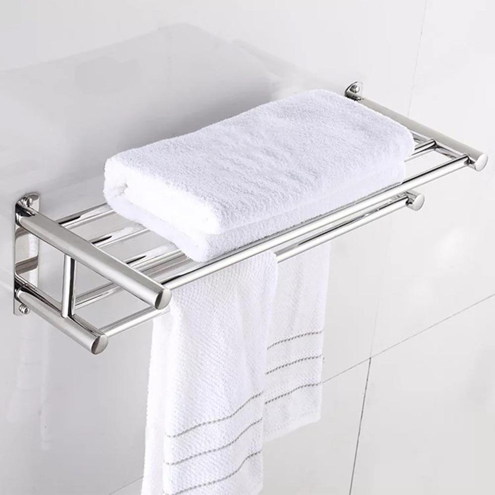 2 Layer Stainless Steel Bathroom Towel Holder Home Hotel Accessories Hardware Set Wall-mounted Towel Rack New Towel Hanger Racks