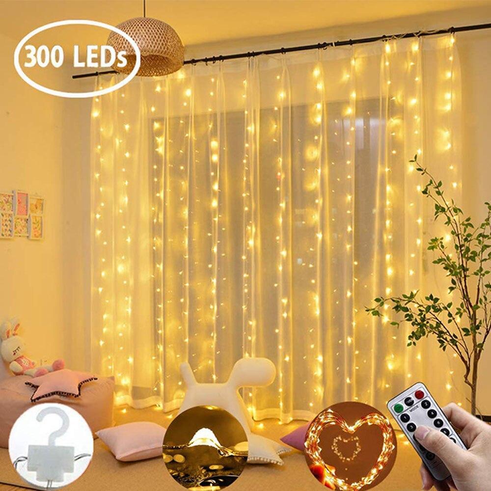 3m led guirlanda cortina luzes da corda controle remoto usb luz de fadas decoração para casa na janela festa casamento iluminação do feriado