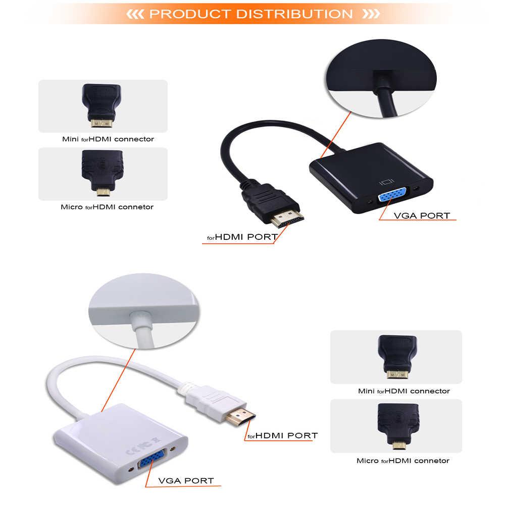 TISHRIC adapter hdmi do vga kabel męski na żeński 1080P cyfrowy na analogowy konwerter wideo do laptopa PC tv, pudełko