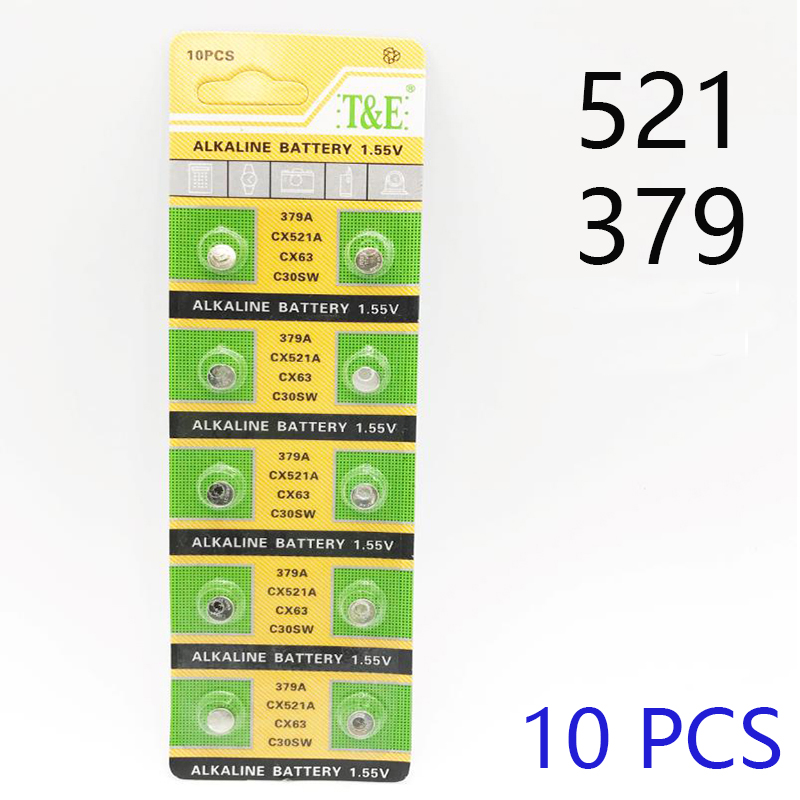 10 PCS 379 Battery AG0 LR521 521 1.55V Sr521sw CX63 Alkaline Watch Button Cell Battery For Watch  Toys Remote Coin Battery