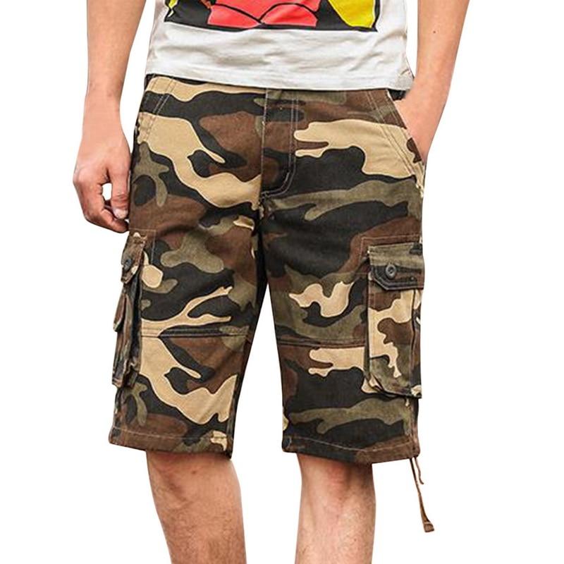 Camouflage Cargo Shorts Mens Multi Pocket Summer Men's Baggy Shorts Military Shorts Zipper Cargo Shorts Trousers
