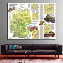A1 Size HD Printed Germany Travel Map Roll Packaged Fine Canvas Wall For Home Decoration