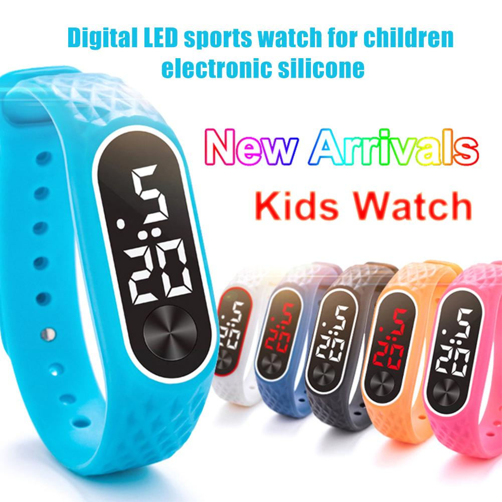 Outdoor Sports TPU Soft Band Digital LED Wrist Watch Slim Kids Wristband Gift
