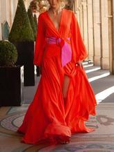 Printing Bohemian Maxi Dresses For Women A-Line Sexy Vestidos Long V Neck Beach