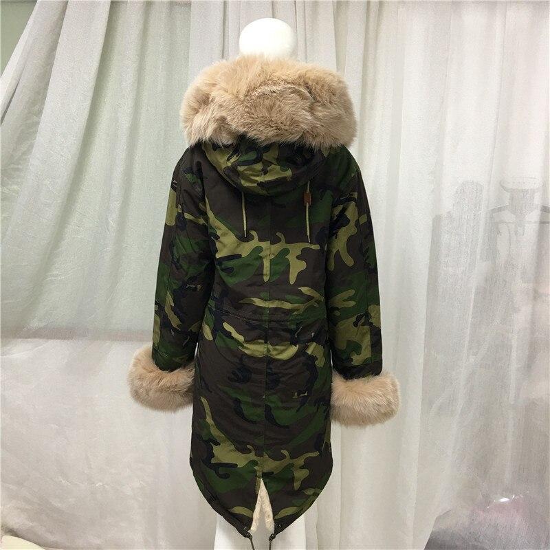 Camouflage Green Parka Men Style Apricot Fox Fur Collar New Jacket Tartan Fox Fur And Faux Fur Lining Long Coat - 3