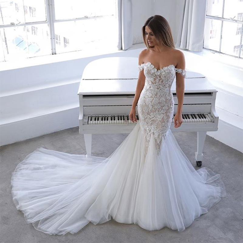 New Arrival Sweetheart Off Shoulder Lace Chapel Train Elegant Birdal Dress Mermaid Wedding Dress