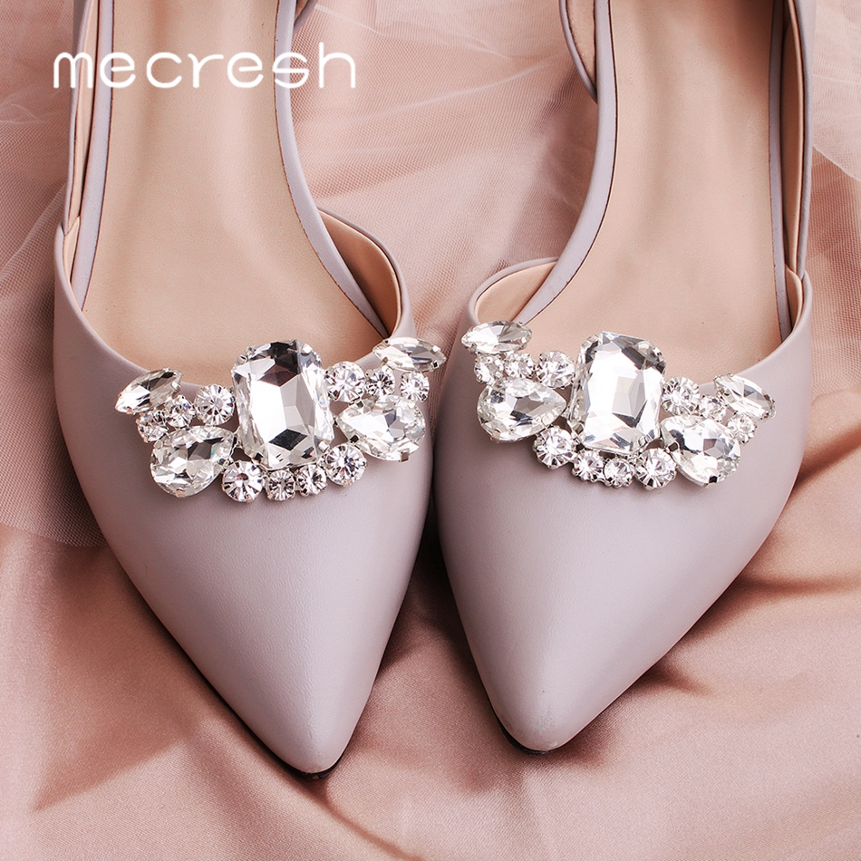 Mecresh 2pcs/lot Statement Teardrop Shape Crystal Women High Heels Clips Geometric Bridal Wedding Shoes Buckle Decoration MXK004
