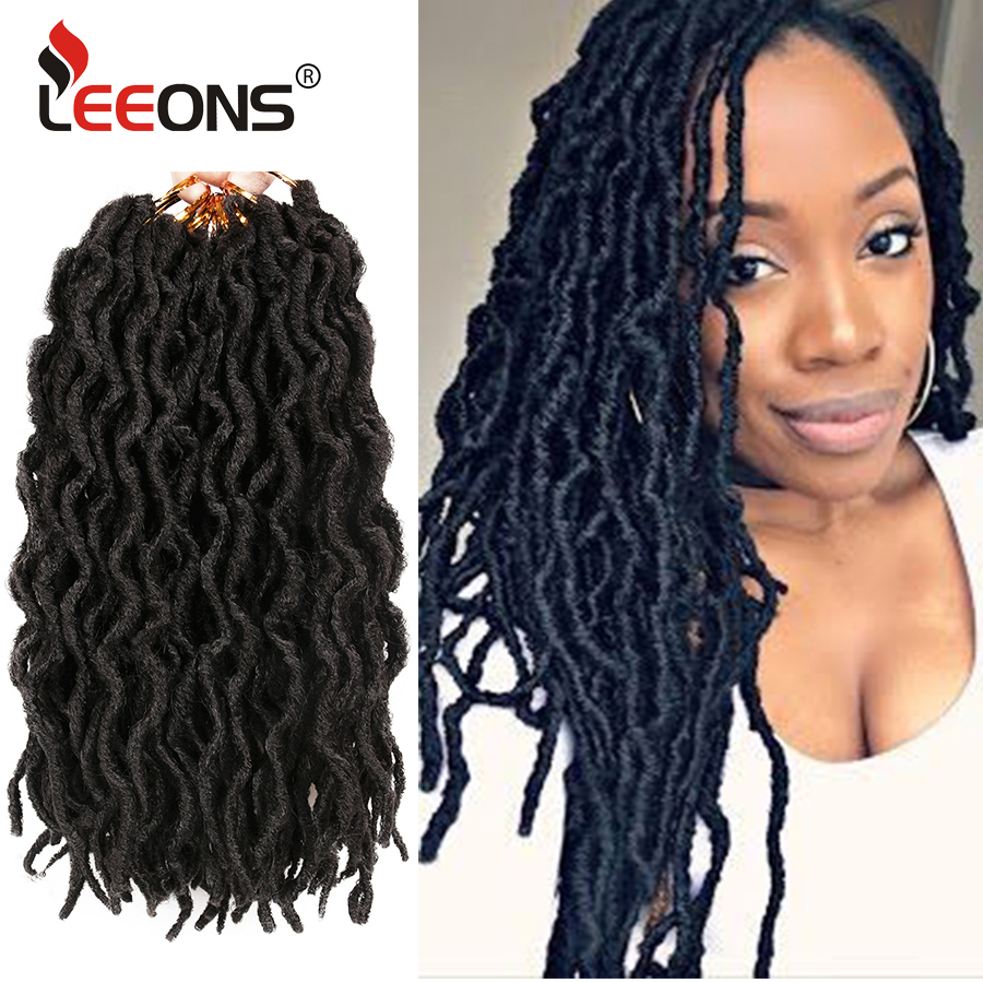 Leeons-extensiones de cabello sintético para mujer, trenzas de pelo rizado de ganchillo con diseño de diosa de las hadas, degradado, extensión de pelo Afro de Nu Locs