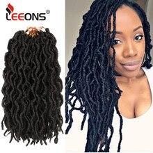 Leeons sıcak satış tanrıça Faux Locs tığ kıvırcık örgüler saç sentetik Ombre Dreadlocks Nu Locs Afro saç uzatma kadınlar için