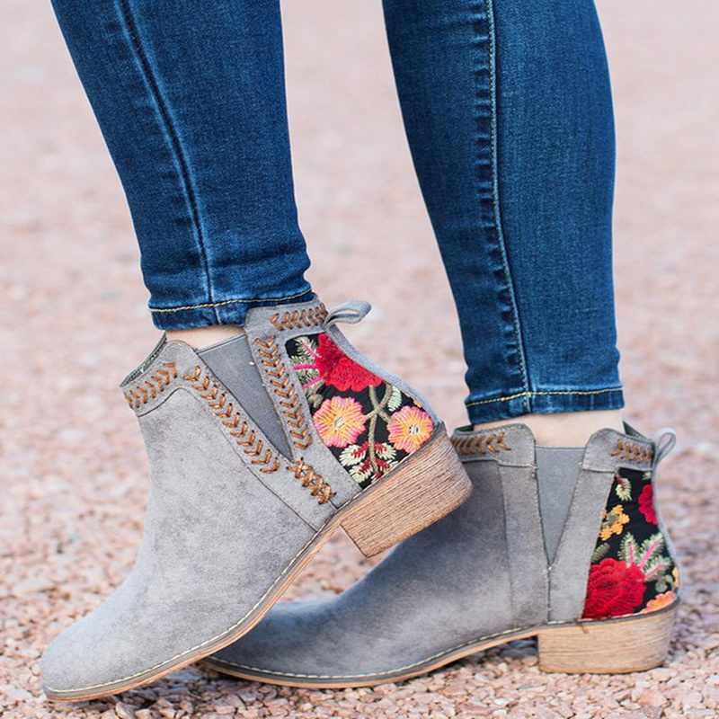 LOOZYKIT yeni kadın ayakkabı nakış sentetik PU kare yüksek topuklu sonbahar ayakkabı bileğe kadar bot kadın sivri burun iş ve güvenlik botları