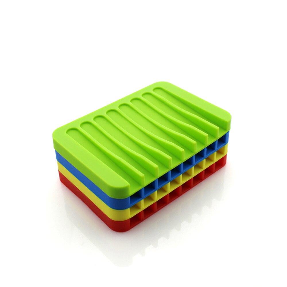 New Bathroom Silicone Flexible Soap Plates Storage Bracket Tray Drain Creative Bathroom Tools Direct Shipping 14 Color