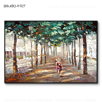 High Quality Hand-painted Impression Lady Walking Acrylic Painting on Canvas Lady Walk in Country Road Oil Painting for Wall Art