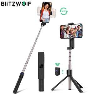 Image 1 - Выдвижная складная селфи палка BlitzWolf с bluetooth, штатив с дистанционным управлением и вращающимся держателем для телефона для iPhone 11