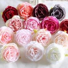 30 Pçs/lote 8cm Grande Peônia Rosa Artificial Cabeças De Flor de Seda Para Decoração de Casamento Grinalda DIY Scrapbooking Artesanato Flores Falsas