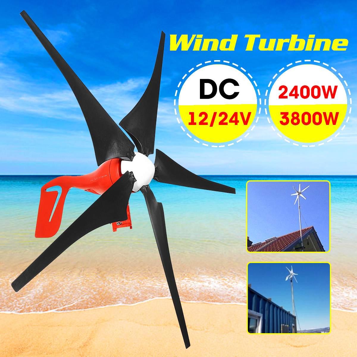 12 V/24 V 2400 W/3800 W générateur de vent 5 lames en option aimant Permanent éoliennes générateur de vent Kits