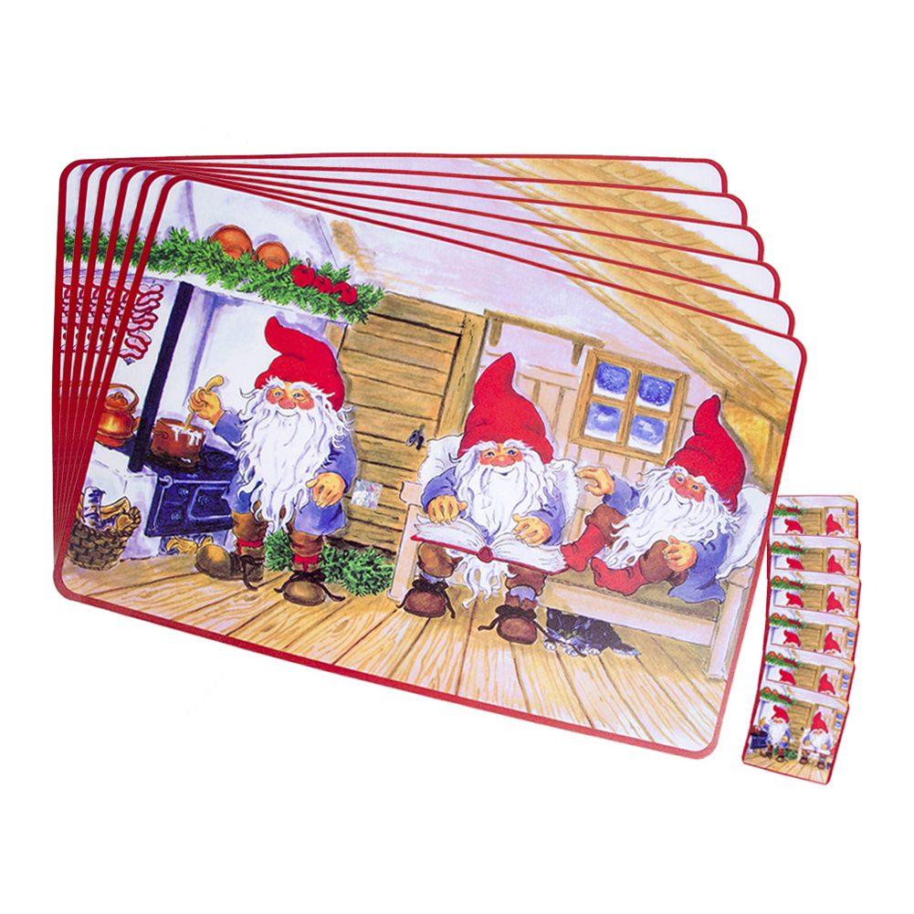 12pcs Christmas Decorations Placemats Creative Printing PVC Coasters Table Insulation Pads Party Supplies