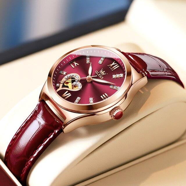New Luxury Women Watches Automatic Mechanical Leather Wrist Watch Rhinestone Ladies Fashion Bracelet Set Gift Top Brand часы 4