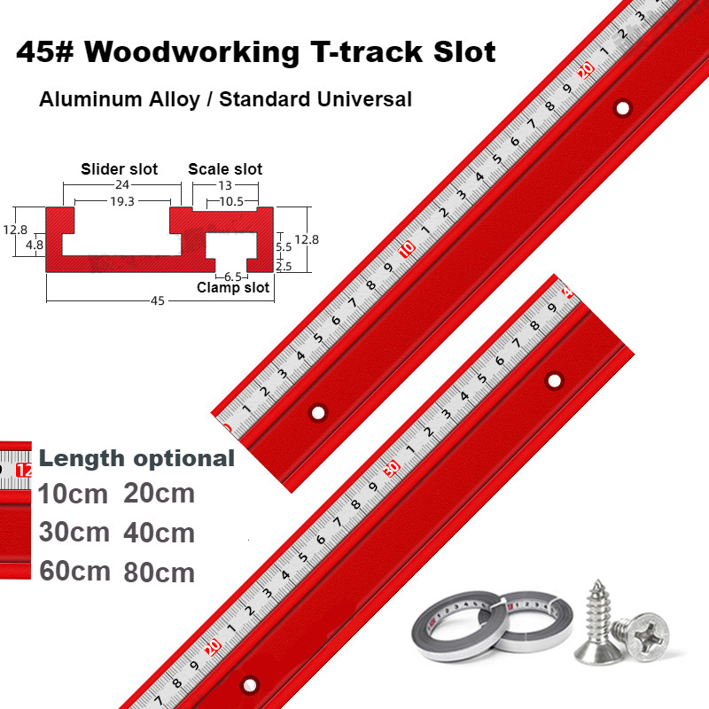 Universal 45 Type T-track T-slot Miter Track Jig Aluminium Alloy Miter Track Stop Woodworking DIY Tools For Table Saw Pusher
