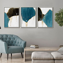 Drop Shipping Canvas Wall Art Print Abstract Painting Blue Black White Color Block Golden Lines Poster Picture Living Room Decor printed abstract graphics psychedelic nebula space painting canvas print decor print poster picture canvas free shipping ny 5746