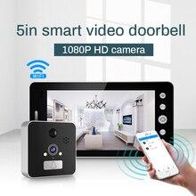 Wifi bezprzewodowy dzwonek do drzwi 5 cal wizjer widz ekran aparatu dla inteligentnego domu dzwonek do drzwi z detektor monitor i widzenie w nocy
