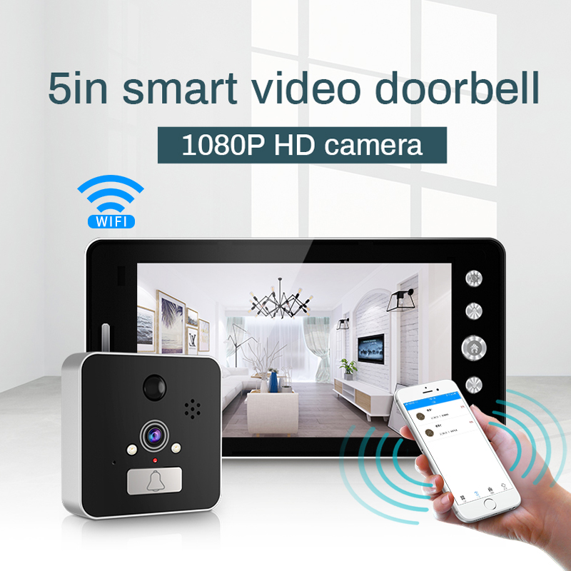 Wifi wireless Door Bell 5 inch Peephole Viewer Camera Monitor for Smart Home Doorbell with Monitor Detector and Night Vision|Doorbell| |  - title=