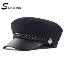 SLECKTON PU Leather Military Hat Sailor Hats Cotton Flat Top Travel Cadet Hat Captain Cap Berets Octagonal Hat Army Caps Ladies military hats white captain sailor hat navy marine caps with anchor army hats for women men child fancy cosplay hat accessories