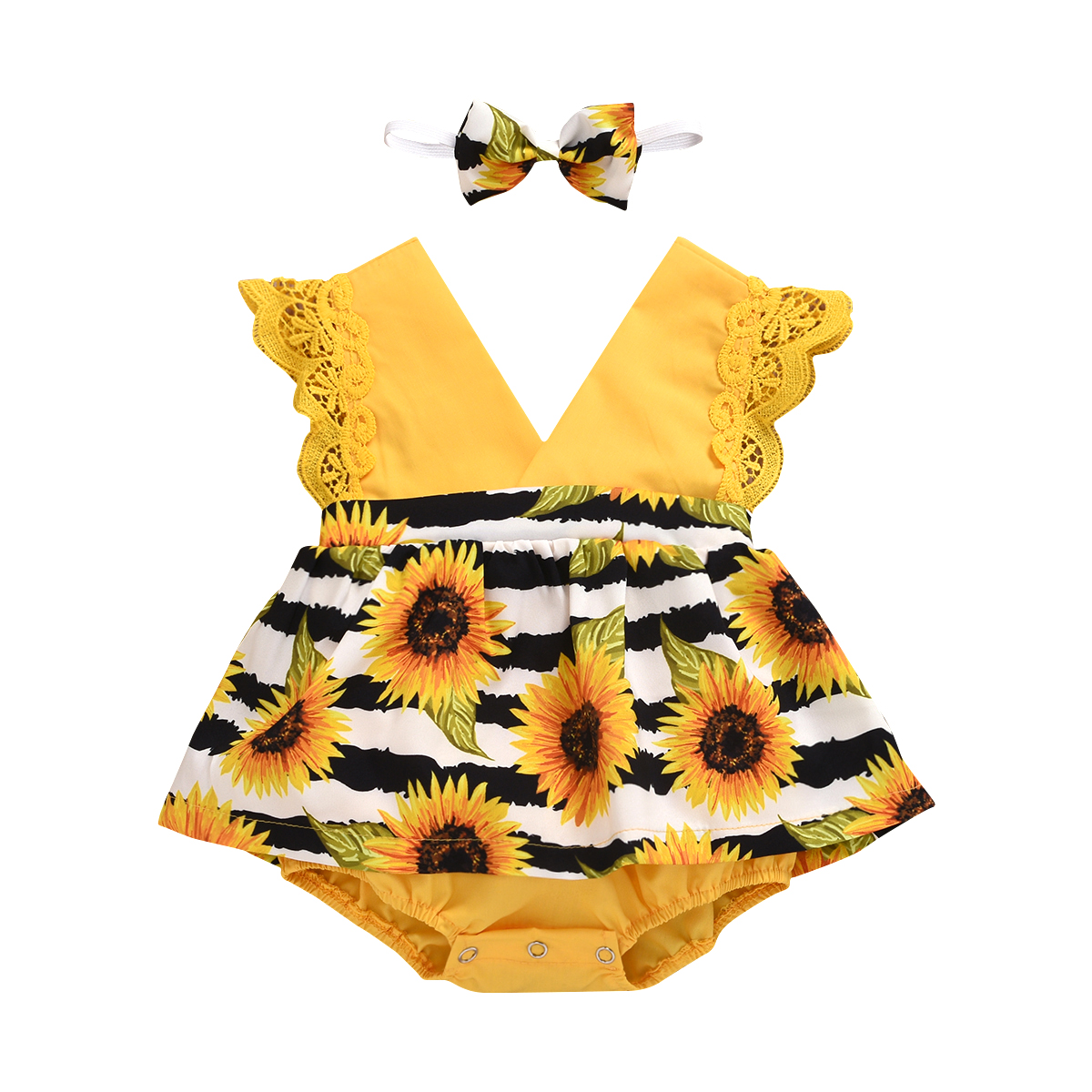 2020 Baby Summer Clothing Infant Newborn Baby Girls Sunflower Lace Bodysuits Dress Striped Jumpsuits Sleeveless Sunsuit Headband