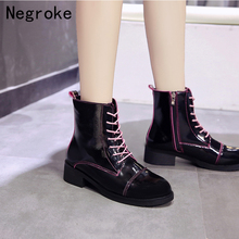 New 2019 Chunky Motorcycle Boots For Women Autumn Round Toe Lace-up Combat Ladies Shoes Botas Zapatos Mujer