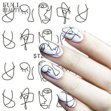 Полная красота 1 лист ногтей воды стикер DIY черный абстрактное изображение дизайн ногтей бумага украшения Маникюр стиль инструмент CHSTZ651-53