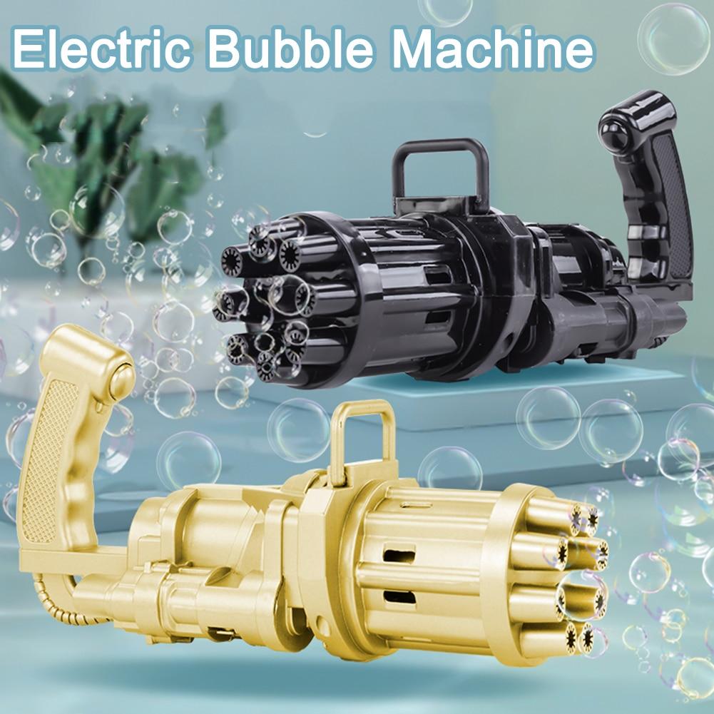 Automatic Gatling Bubble Gun Toys Summer Soap Water Bubble Machine 2-in-1 Electric Bubble Machine For Kids Bubble Blowing