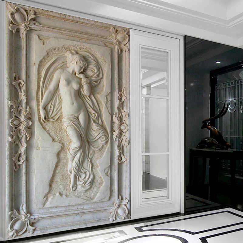 Drop Shipping CUSTOM ภาพจิตรกรรมฝาผนังวอลล์เปเปอร์ยุโรป 3D Stereoscopic Art บรรเทา Angel รูปปั้นเปลือยทางเข้าห้องโถงทางเดิน Glitter