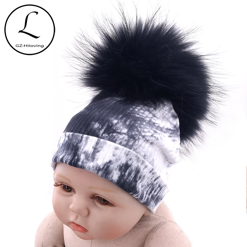 GZhilovingL Winter Black Tie Dye Beanies Hats With Real Fur Pompom For Baby Girls Toddler Kids Soft Fur Ball Cotton Ribbed Hats