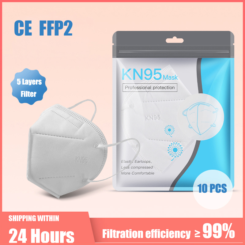10-100 pièces KN95 masques 5 couches filtre poussière bouche PM2.5 masque facial grippe protection personnelle soins de santé kn95masques 1