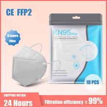 10-100 sztuk KN95 maski 5 warstw filtr pyłu usta PM2 5 maska Flu osobiste ochronne opieki zdrowotnej kn95masses tanie tanio FENGLIN Chin kontynentalnych Jeden raz Dla dorosłych GB2626-2006 10-100PCS